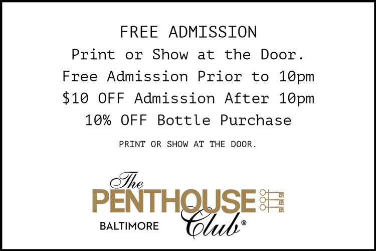 Print for Free Admission at the Penthouse Club Baltimore